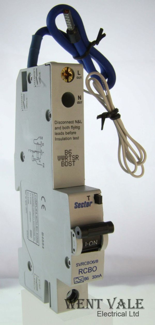 Sector SVRCBO6/B - 6a 30mA Type B Single Pole RCBO Un-used In Box